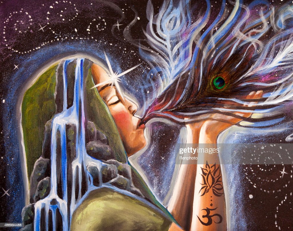 Visionary Art Oil Painting Energy Release stock illustration