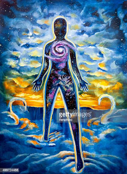 visionary art: stepping into power within - spirituality stock illustrations, clip art, cartoons, & icons