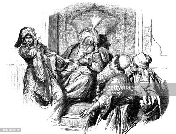 visit to the sultan - 1896 - 1896 stock illustrations, clip art, cartoons, & icons