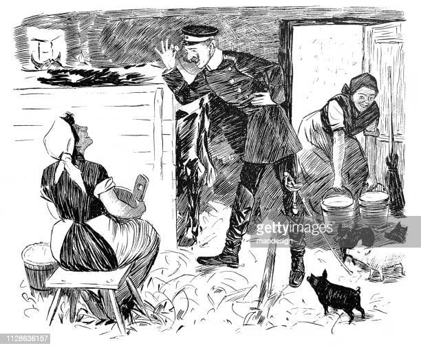 Visiting an officer in a barn - 1896