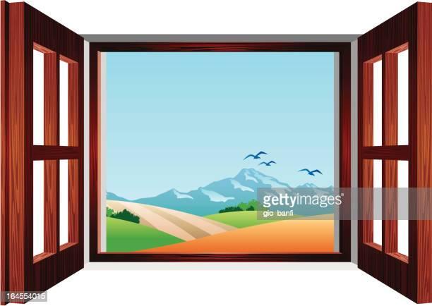 ilustraciones, imágenes clip art, dibujos animados e iconos de stock de vista sulla campagna - ventana