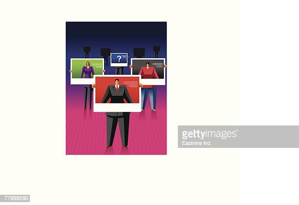 visual screens showing the reflection of a group of people - obscured face stock illustrations, clip art, cartoons, & icons