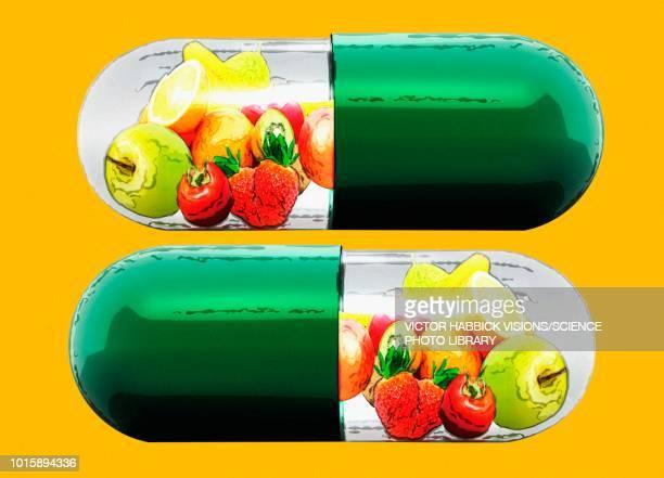 vitamin capsules, conceptual illustration - food stock illustrations