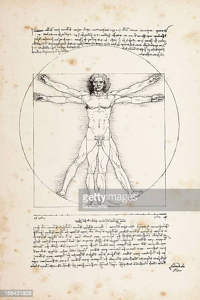 Vitruvian man painted by Leonardo da Vinci from 1492