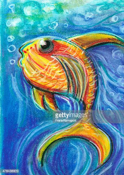 Vivid Fish For Children Pastel Chalk Drawing