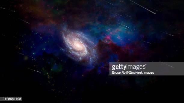 ilustraciones, imágenes clip art, dibujos animados e iconos de stock de vivid purple space. 3d rendering - galaxiaespiral