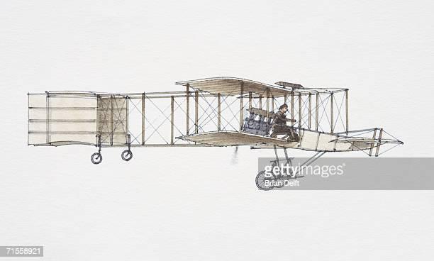 1907 Voisin-Farman biplane, side view.