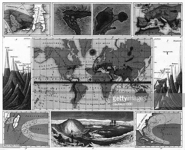 volcanic and hurricane charts; craters; and antarctica engraving - hurricane stock illustrations, clip art, cartoons, & icons