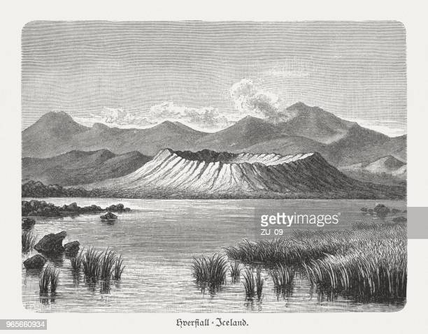 Volcanic crater Hverfjall near Lake Myvatn, Iceland, woodcut, published 1897