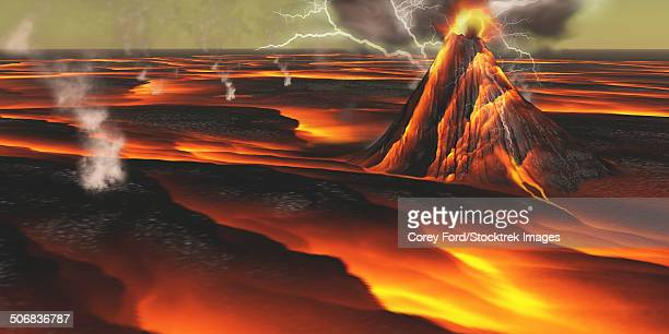 Volcanic eruption on an alien planet.
