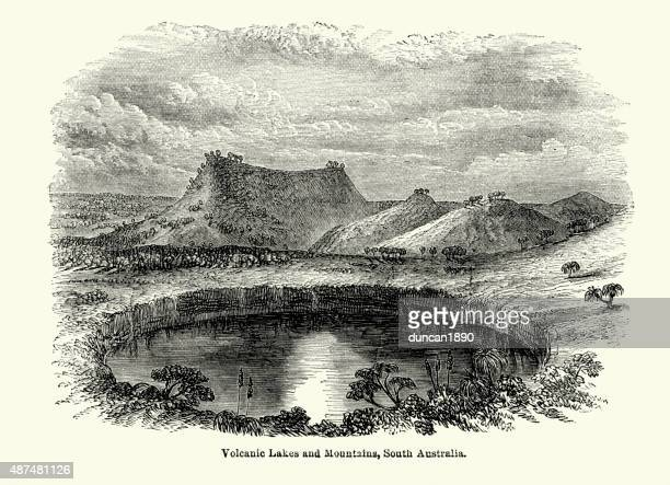 volcanic lakes and mountains, south australia - volcanic crater stock illustrations, clip art, cartoons, & icons