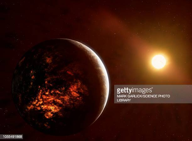 volcanic planet 55 cancri e, illustration - extrasolar planet stock illustrations
