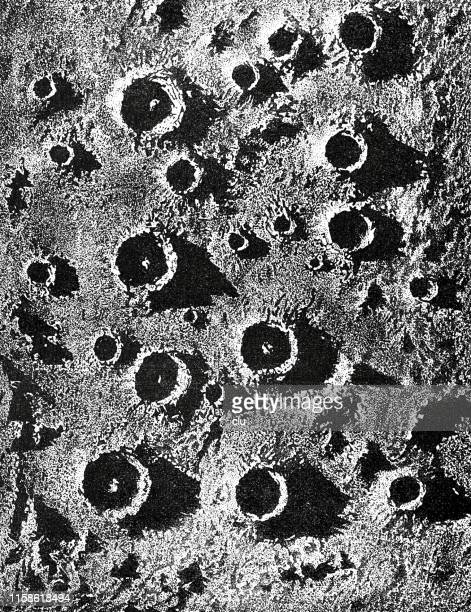 volcanic surface of the moon - volcanic crater stock illustrations, clip art, cartoons, & icons