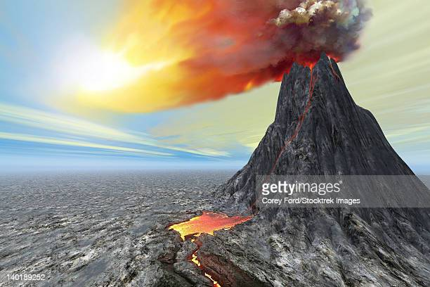a volcano bursts forth with hot lava and billowing smoke. - lava stock illustrations, clip art, cartoons, & icons