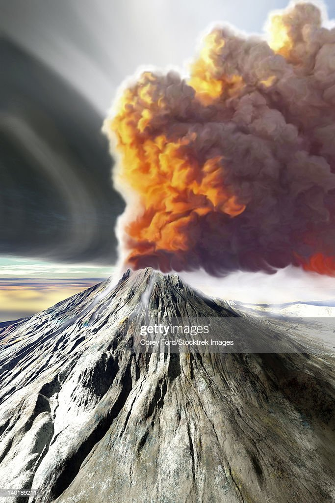 A volcano comes to life with billowing smoke. : stock illustration