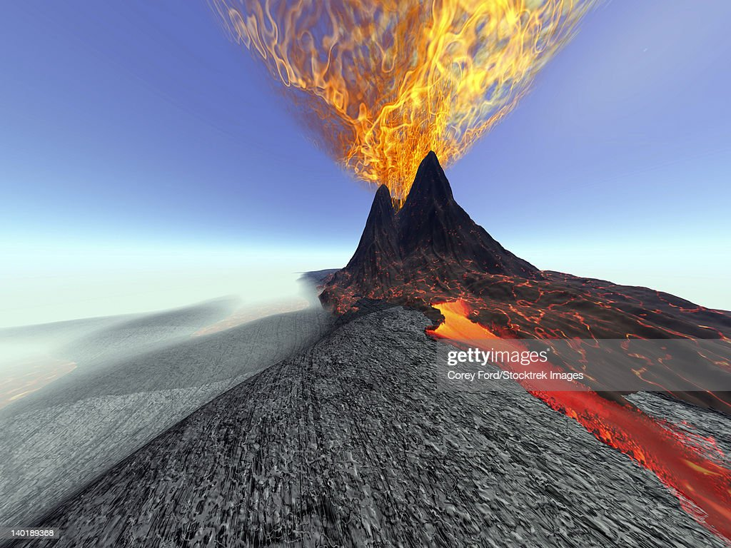A volcano comes to life with fire, smoke and lava. : stock illustration