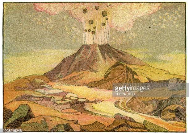 volcano engraving 1887 - volcano stock illustrations