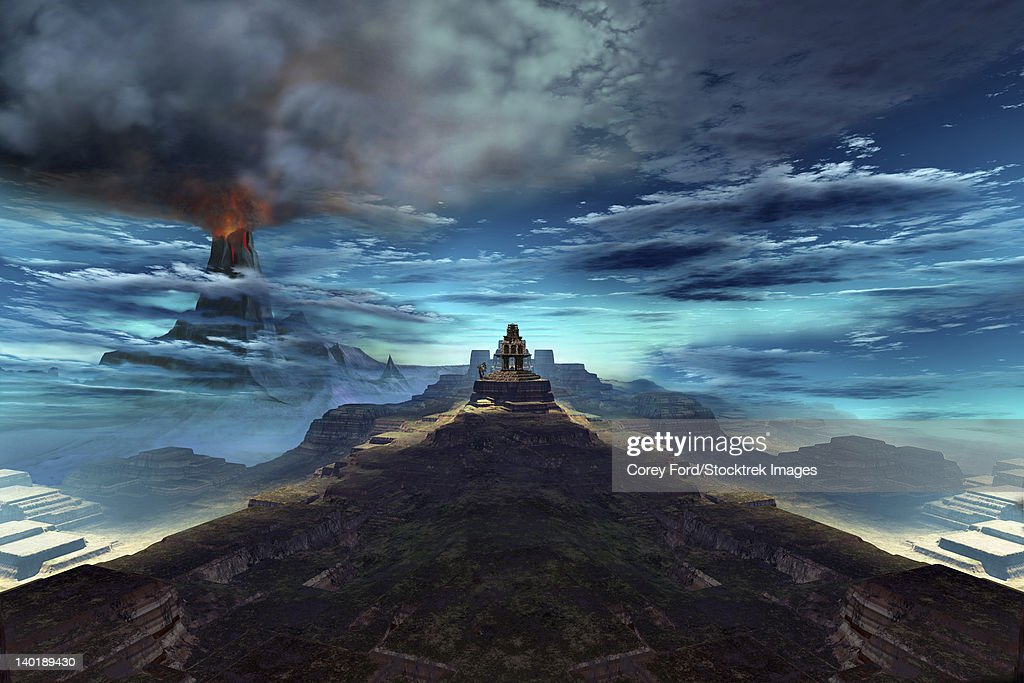A volcano erupts near an ancient Mayan temple. : stock illustration