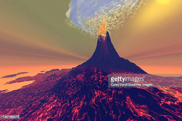 A volcano erupts with smoke, fire and lava.