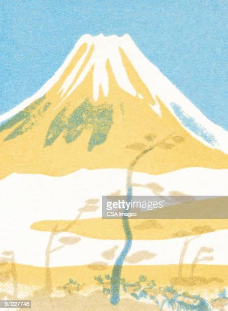 ilustrações, clipart, desenhos animados e ícones de vulcão - mt. fuji