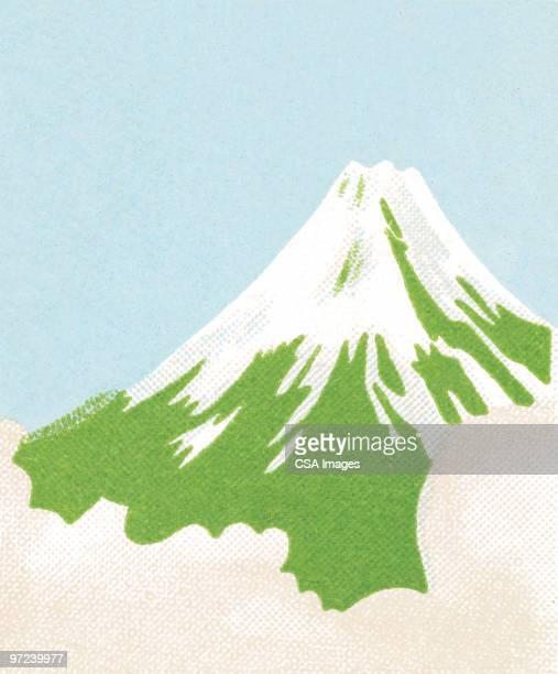 ilustrações, clipart, desenhos animados e ícones de volcano - mt. fuji