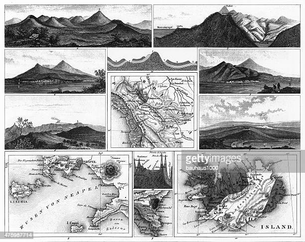 Volcanoes and Volcanic Formations and Stratification Engraving