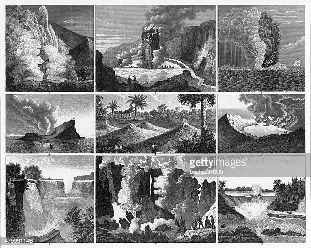 volcanoes, geysers and water falls engraving - volcanic crater stock illustrations, clip art, cartoons, & icons