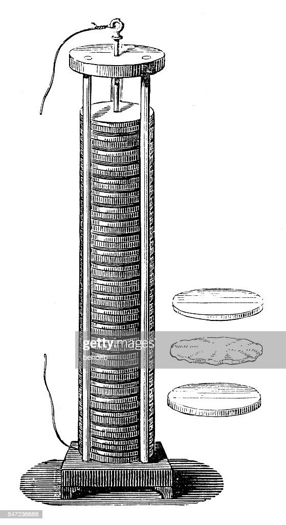 Voltaic pile, electrical battery : Stock Illustration