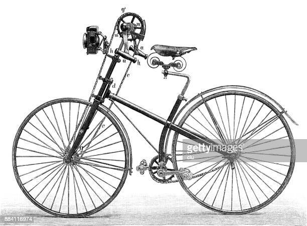 von wedels kaiserrad bicycle from 1889 - history stock illustrations