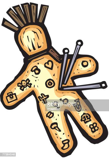 voodoo doll - knockout stock illustrations, clip art, cartoons, & icons