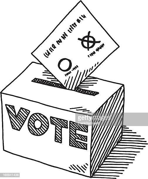 Voting Ballot Box Drawing