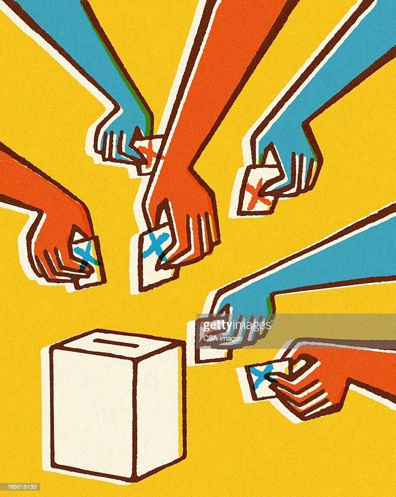 Voting Hands and Ballot Box : Stock Illustration