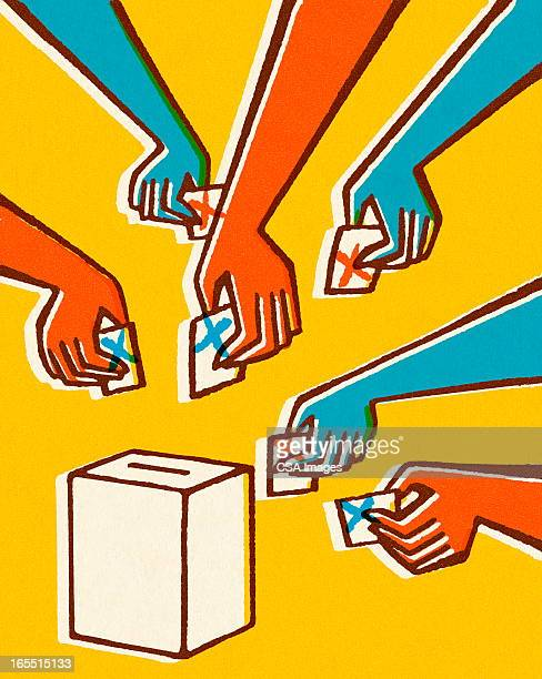voting hands and ballot box - politics concept stock illustrations
