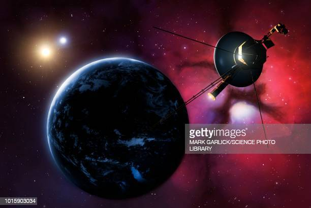 Voyager probe passing binary star, illustration