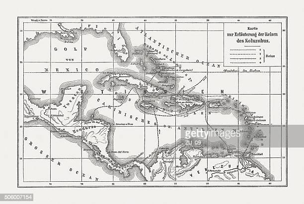ilustraciones, imágenes clip art, dibujos animados e iconos de stock de voyages de cristóbal colón, grabado en madera, publicado c. 1.882 - cristobal colon