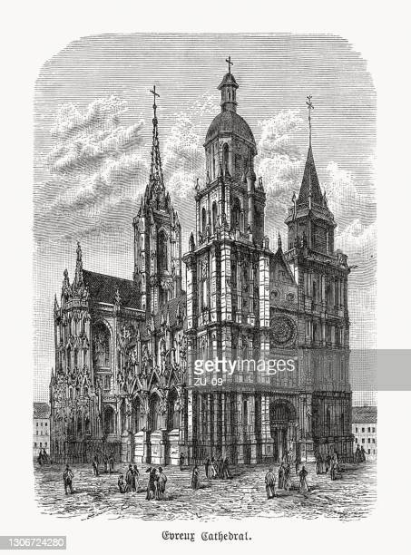 évreux cathedral, normandy, france, wood engraving, published in 1893 - normandy stock illustrations
