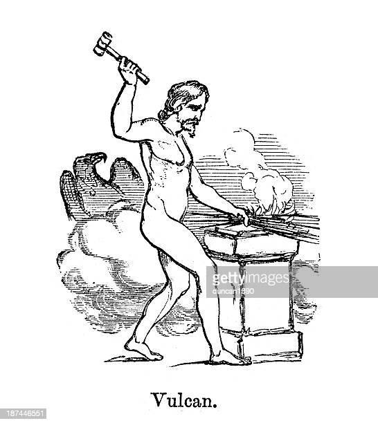 vulcan god of fire - roman god stock illustrations