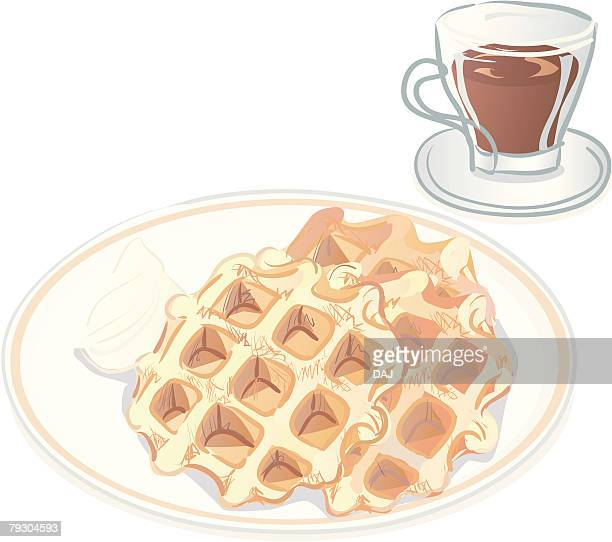 waffle cake with whipped cream and drink - waffle stock illustrations, clip art, cartoons, & icons