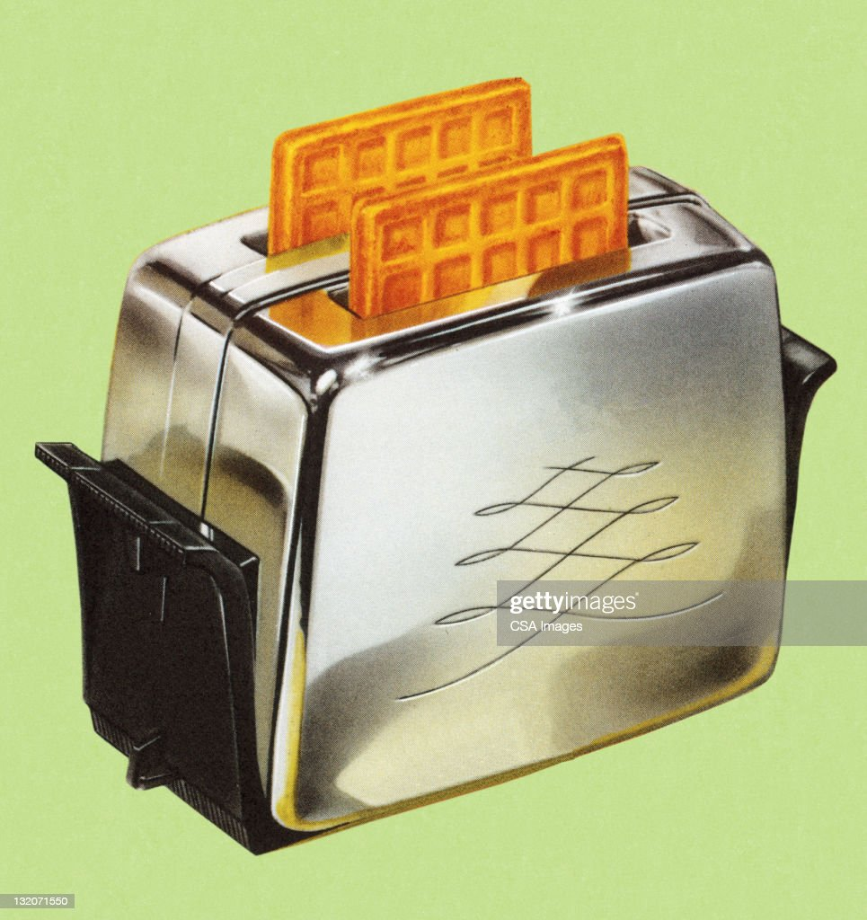 Waffles in Toaster : stock illustration
