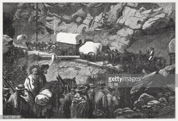 wagon train, gold rush in the black hills, published 1876 - black hills stock illustrations