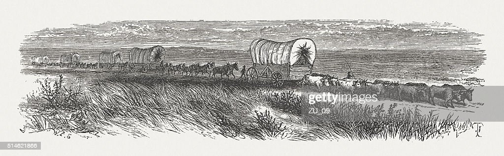 Wagon Train of American Settlers, wood engraving, published in 1880 : stock illustration
