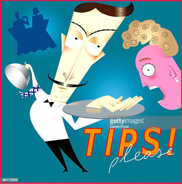 a waiter asking a customer for tips - sneering stock illustrations, clip art, cartoons, & icons