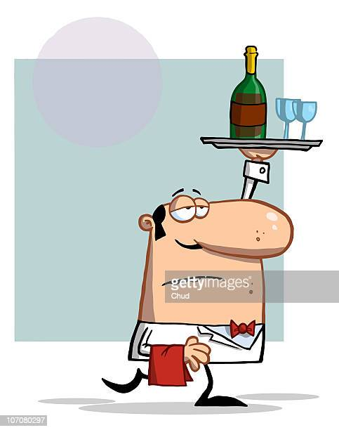 waiter carrying a tray with wine - uniform stock illustrations