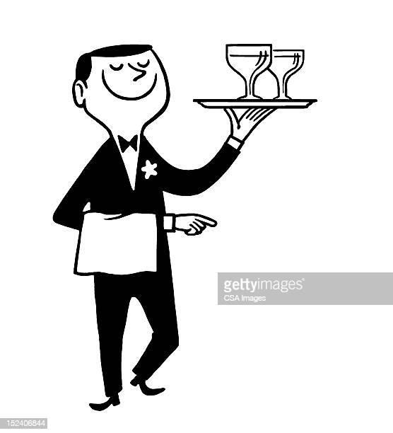 waiter carrying drinks - butler stock illustrations, clip art, cartoons, & icons