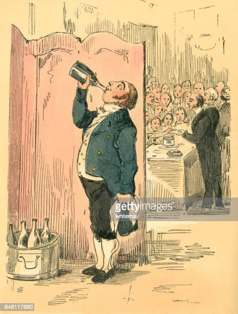 Waiter enjoying a secret drink at a Victorian party