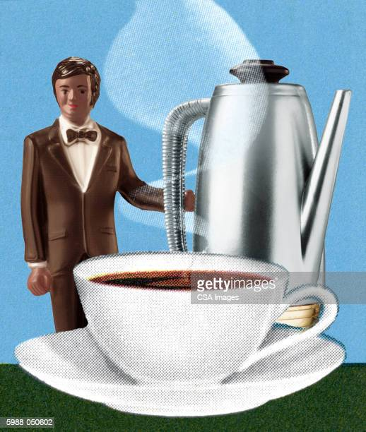 waiter figurine with coffee - steam stock illustrations