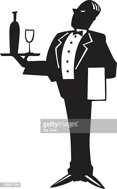 waiter graphic - butler stock illustrations, clip art, cartoons, & icons