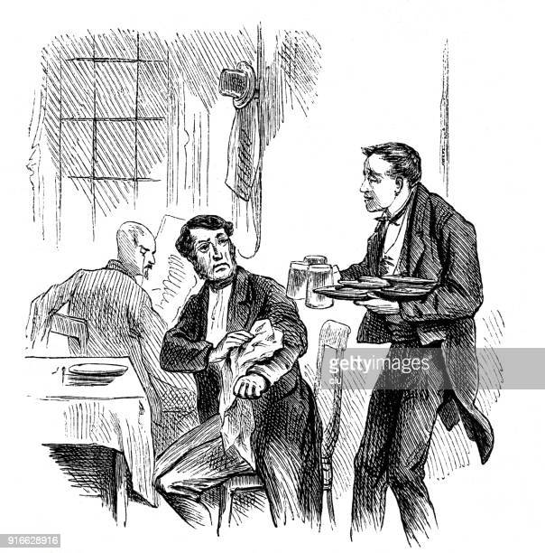 waiter with 3 cups of beer in his hand spills some liquid on a guest - 1877 stock illustrations, clip art, cartoons, & icons
