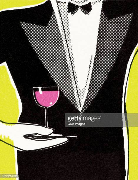 illustrazioni stock, clip art, cartoni animati e icone di tendenza di waiter with wine - smoking