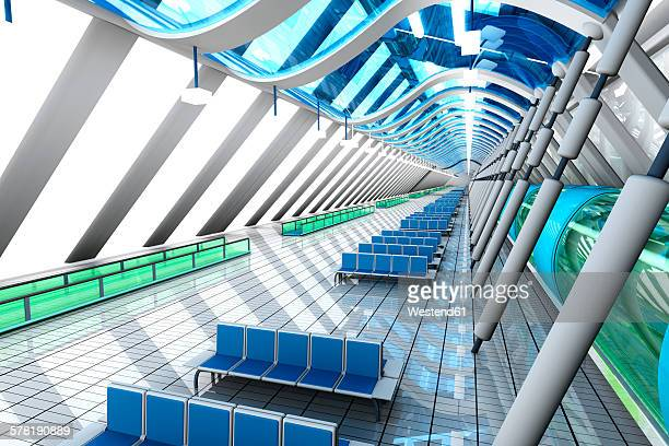 Waiting area of a futuristic airport, 3D Rendering